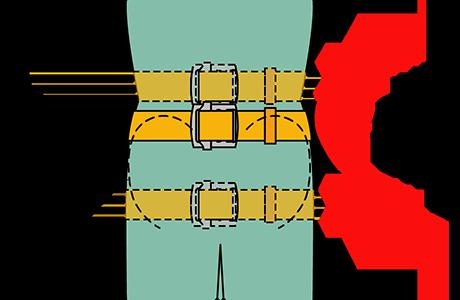 胴ベルトは腰骨の位置に締めてください